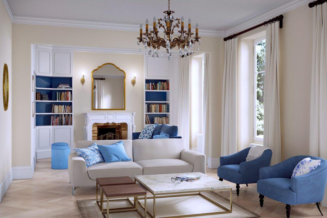 Salon fauteuil bleu