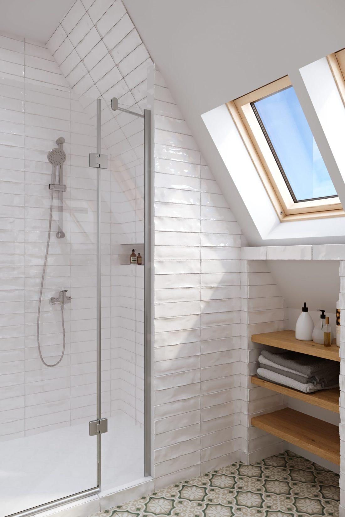 douche sous combles 3d