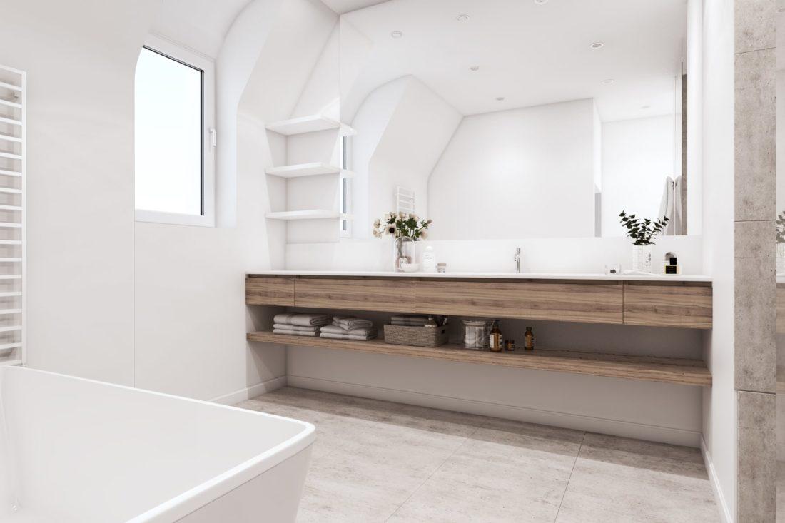 salle de bain plan vasque suspendu