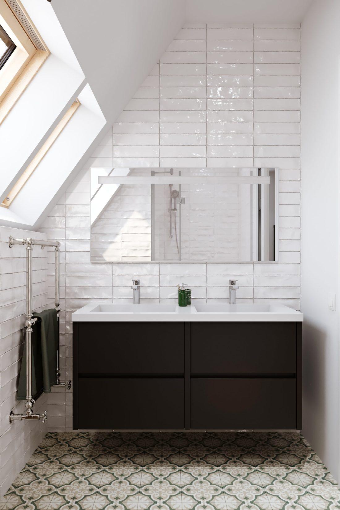 salle de bain sous comble 3d