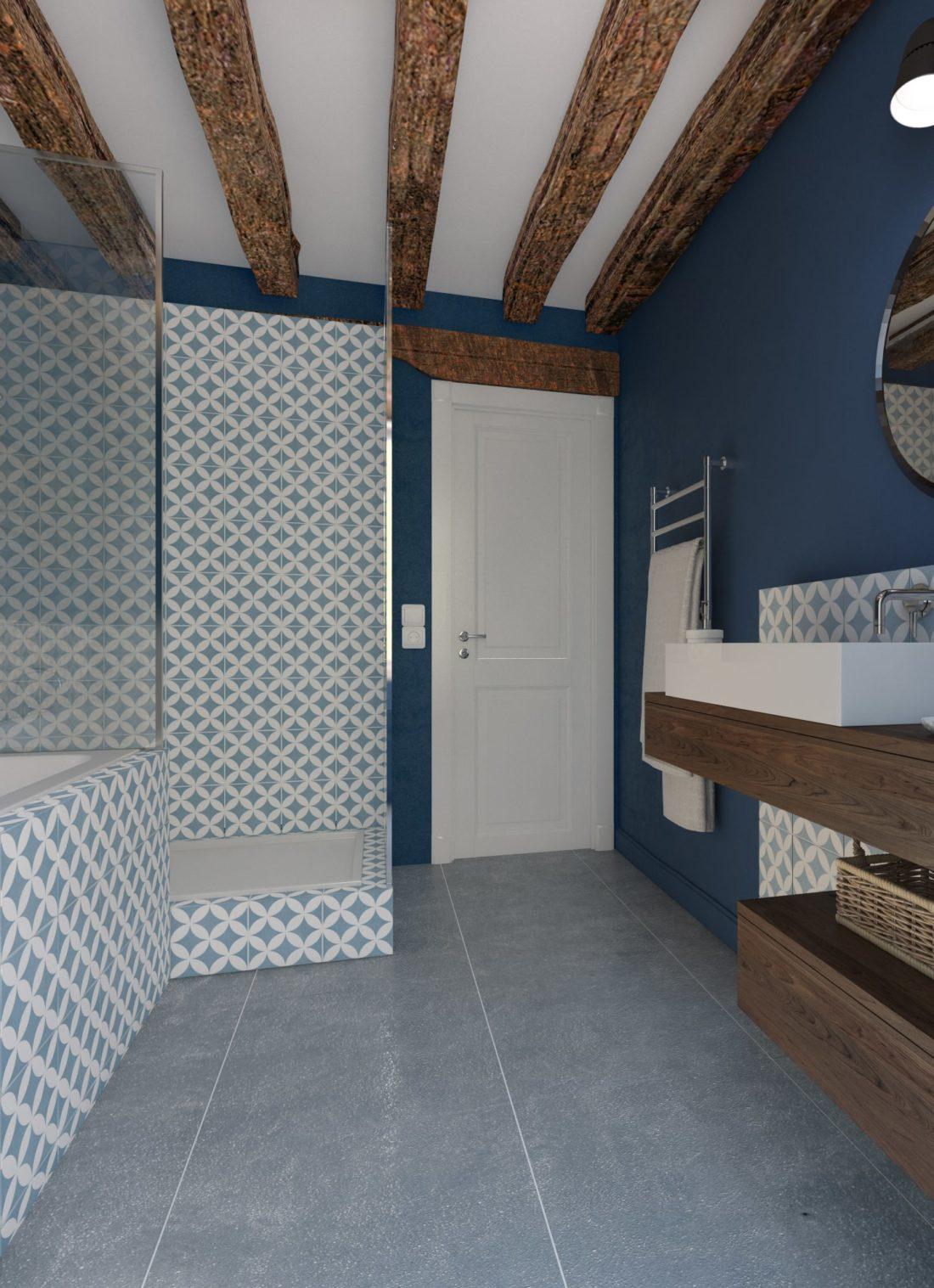 salle de bain bleu bois